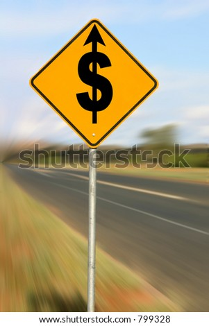 Driving Up Costs: Conceptual image to illustrate driving up costs. - stock photo