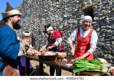 DROBETA, ROMANIA - 10.09.2016: medieval festival people cooking ancient style