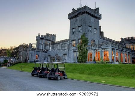 Dromoland Castle at dusk in west Ireland. - stock photo