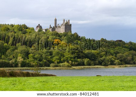 Dromore Castle and lake in Co. Limerick, Ireland - stock photo