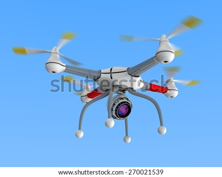 Dron with camera - stock photo