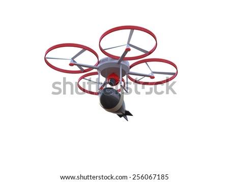 Drone attack bomb 3d - stock photo