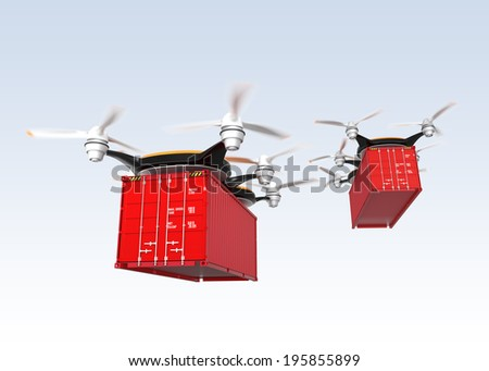 Drone carrying cargo container. Fast and mass transportation concept - stock photo