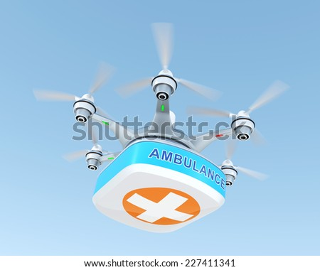 Drone carrying first aid kit for emergency medical care concept - stock photo