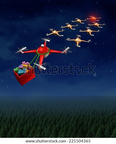 Drone christmas sled concept as group of organized drones in a reindeer sleigh formation with a santa clause flying quadrocopter delivering gifts. - stock photo