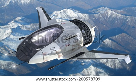 Drone design of alien spacecraft for futuristic military war games, flying at high altitude over a generic snowcapped mountains landscape.