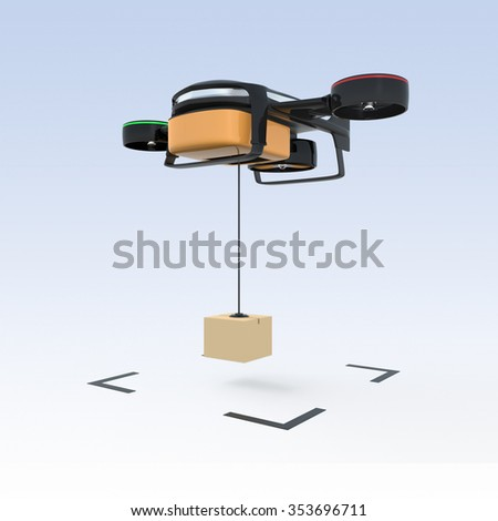 Drone drop down carton to the ground. Fast business delivery concept. - stock photo