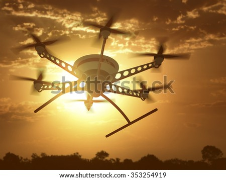 Drone flying under the sunset and cloudy sky. - stock photo