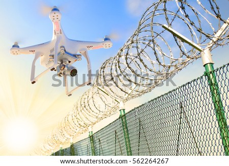 Drone Monitoring Barbed Wire Fence On Stock Photo (Safe to Use ...