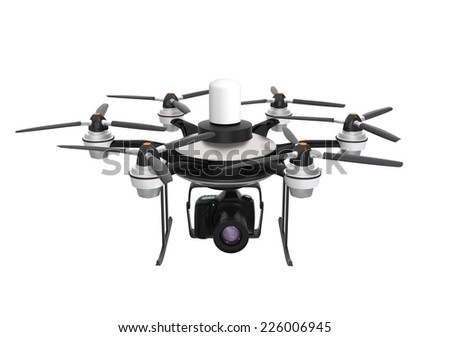 Drone mounted with DSLR isolated on white background - stock photo