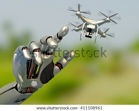 Drone on the robot arm.3d render - stock photo