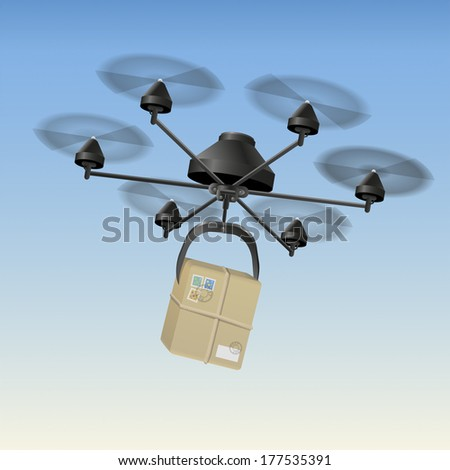Drone or unmanned aerial vehicle (UAV) transporting a package. - stock photo