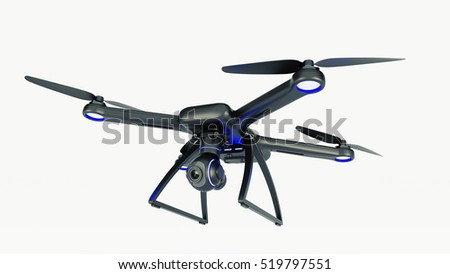 drone, quadrocopter, with photo camera flying in the blue sky. 3d rendering