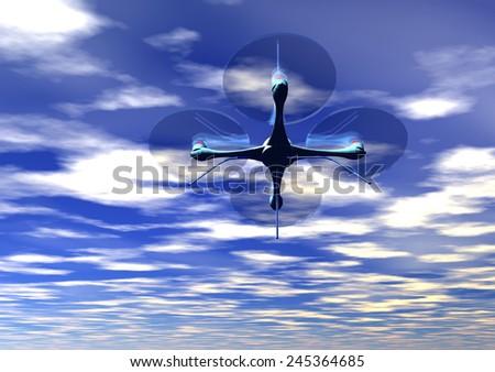 drone rendering - stock photo