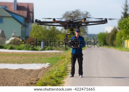 Drone, Unmanned copter flight, pilot  flying drone