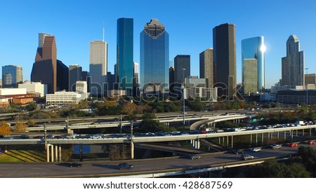Drone view of Houston skyline.