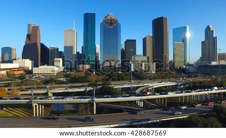 Drone view of Houston skyline. - stock photo