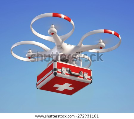 Drone with first aid kit - stock photo