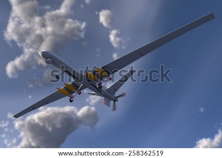 Drone with Pencil Missiles - stock photo