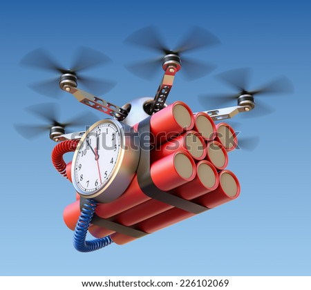 Drone with time bomb - stock photo