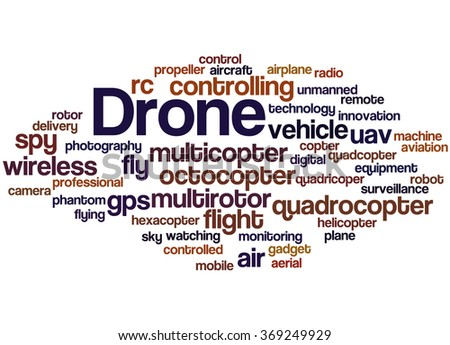 Drone, word cloud concept on white background.