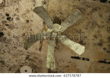 Drooping ceiling fan and ceiling covered stock photo 637578787 drooping ceiling fan and ceiling covered in mold natural light publicscrutiny Choice Image