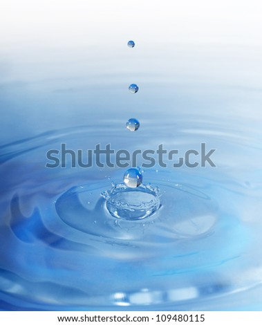 Drop falling in water. High-speed shooting, a blue background