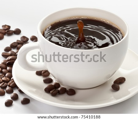 drop falling into a cup of coffee - stock photo