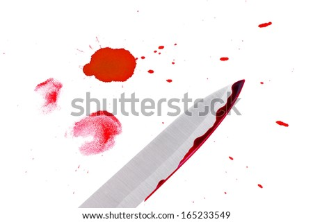 Drop,fingerprint and knife with blood.