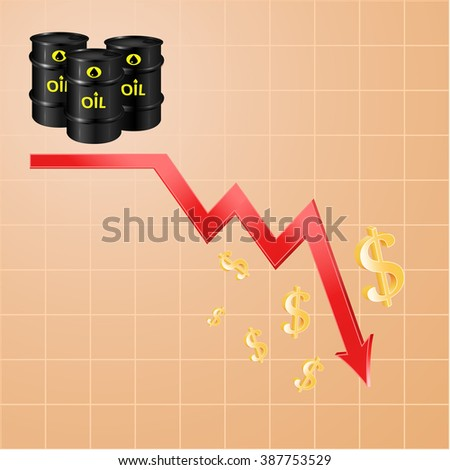 Drop in oil prices, concept of the economic cycle of cheap oil, 3d raster - stock photo