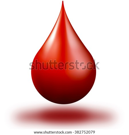 drop of blood in white background / drop of blood - stock photo