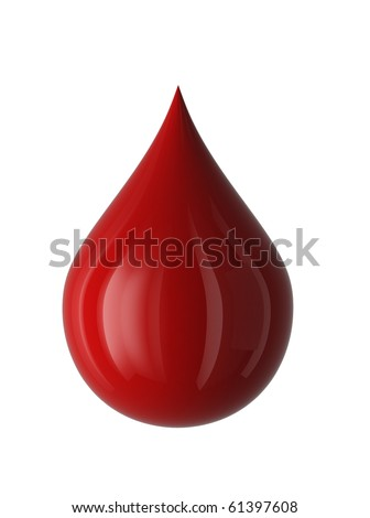 Drop of blood Isolated on white. 3D render.