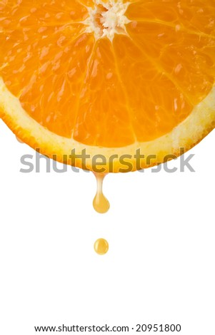 drop of juice falling from orange half isolated - stock photo