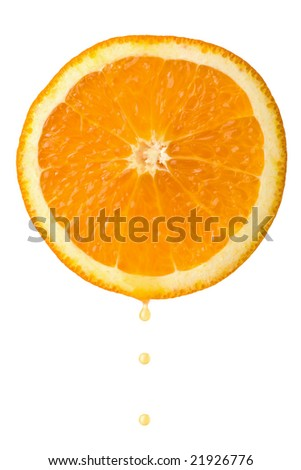 drop of juice falling from orange half isolated