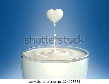 Drop of milk in form of heart - stock photo
