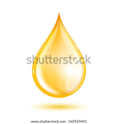 Drop of oil isolated on white background. - stock photo