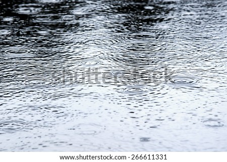 Drop of rain on water - stock photo