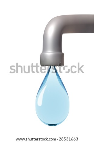 Drop of the water, following from the faucet - stock photo