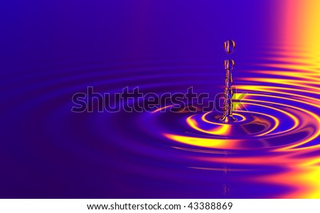 Drop of water, color background