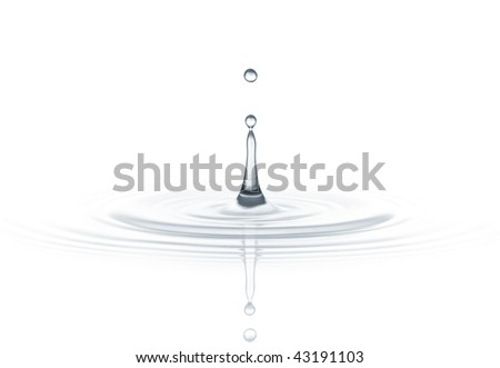 drop of water created ripple against white background - stock photo