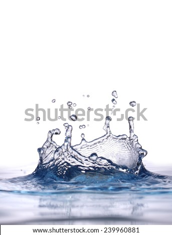 Drop of water fell and reflected  - stock photo