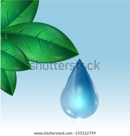 drop of water flowing down from green leaves.raster copy of vector file - stock photo