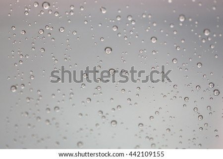 Drop of water for the background on glass car window to abstract design and nature backdrop. - stock photo