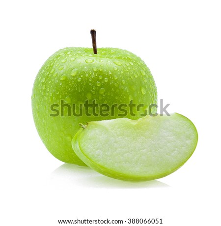 Drop of water green apple on white background - stock photo