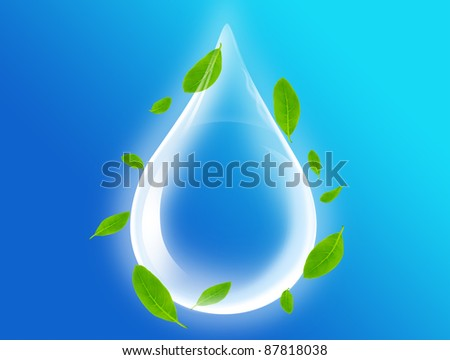 Drop Of Water with green leafs - stock photo