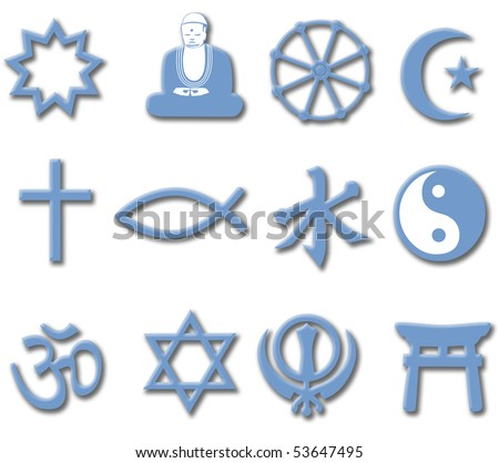 Drop shadows add depth to collection of symbols of major World Religions useful as an icon set. - stock photo