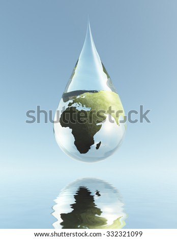 Droplet Africa Asia - stock photo