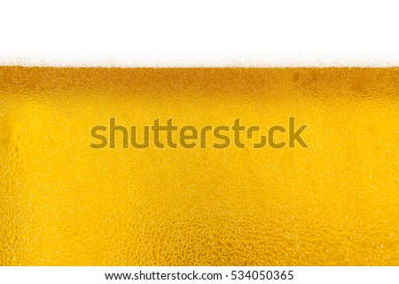 Droplets on freshly poured beer, droplets on freshly poured beer background and texture