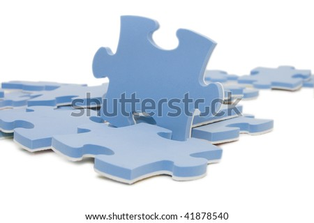 Dropped out part of a blue puzzle