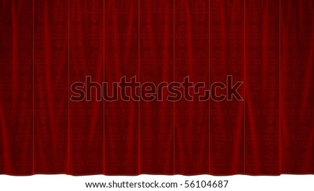 Dropped Red Curtain with beautiful textile pattern. over white. Extralarge resolution - stock photo